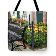 Bench By The Tulips Tote Bag