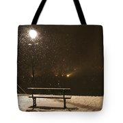 Bench For The Snowflakes Tote Bag