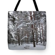 Bench In Muuga Woods Tote Bag