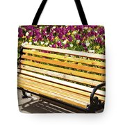 Bench In The Tulips Tote Bag
