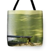 Bench On A Lake Tote Bag