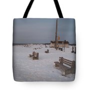 Benches At Sunset Beach Nj Tote Bag