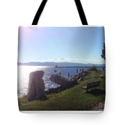 Benches Water Sun And Boat Tote Bag