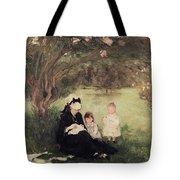 Beneath The Lilac At Maurecourt Tote Bag by Berthe Morisot