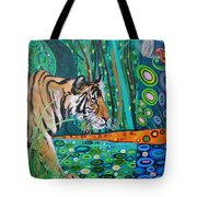 Bengal Tiger And Dragonfly Tote Bag