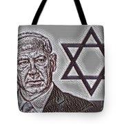 Benjamin Netanyahu With Star Of David Tote Bag