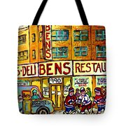 Ben's Famous Smoked Meat Montreal Memories Canadian Paintings Hockey Scenes And Landmarks  C Spandau Tote Bag