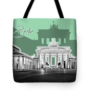 Berlin Brandenburg Gate - Graphic Art - Green Tote Bag