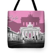 Berlin Brandenburg Gate - Graphic Art - Pink Tote Bag