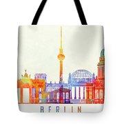 Berlin Landmarks Watercolor Poster Tote Bag