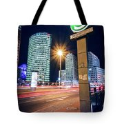 Berlin - Potsdamer Platz Square At Night Tote Bag