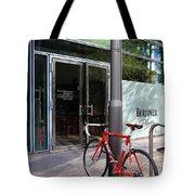 Berlin Street View With Red Bike Tote Bag by Ben and Raisa Gertsberg