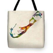 Bermuda Watercolor Map Tote Bag
