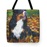 Bernese Mountain Dog Autumn Leaves Tote Bag