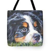 Bernese Mountain Dog In Grass Tote Bag