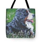 Bernese Mountain Dog In Wildflowers Tote Bag