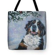 Bernese Mountain Dog With Cardinal Tote Bag