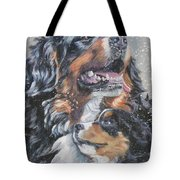 Bernese Mountain Dog With Pup Tote Bag