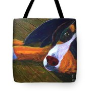 Bernese Mtn Dog On The Deck Tote Bag