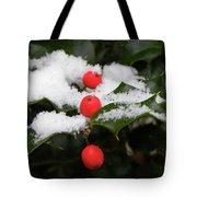 Berries In Snow Tote Bag
