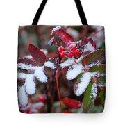 Berries And Snow Tote Bag