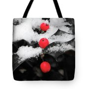 Berries In Snow Tote Bag