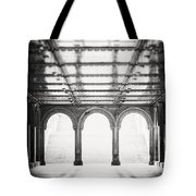 Bethesda Terrace In Black And White Tote Bag