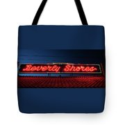 Beverly Shores Indiana Depot Neon Sign Panorama Tote Bag