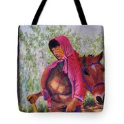 Bhutan Series - Woman With The Horse Tote Bag