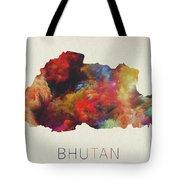 Bhutan Watercolor Map Tote Bag