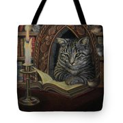 Bibliocat Reads To His Friends Tote Bag