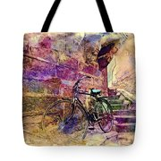 Bicycle Abandoned In India Rajasthan Blue City 1a Tote Bag