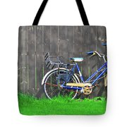Bicycle And Gray Fence Tote Bag