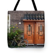 Bicycle And Wooden Door Tote Bag