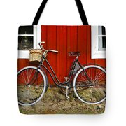 Bicycle In Front Of Red House In Sweden Tote Bag