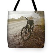 Bicycle On The Road In Botswana Tote Bag
