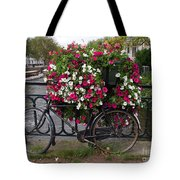 Bicycle Parked At The Bridge In Amsterdam Tote Bag