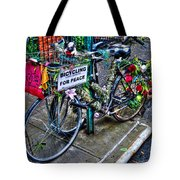 Bicycling For Peace Tote Bag