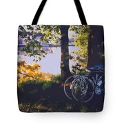 Bicyles By The Lake  Tote Bag