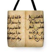 Bifolium In Maghribi Script Tote Bag