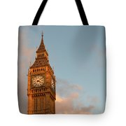 Big Ben Tower With Blue Sky And Some Clouds Tote Bag