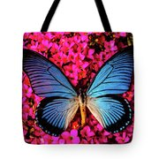 Big Blue Butterfly On Kalanchoe Flowers Tote Bag