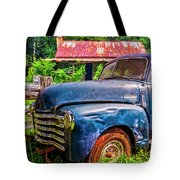 Big Blue Chevy At The Farm Tote Bag