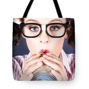 Big Business Kid Making Phone Call With Tin Cans Tote Bag