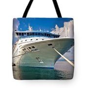 Big Docked Cruise Ship View Tote Bag