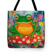 Big Green Frog On Red Mushroom Tote Bag
