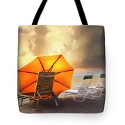 Big Orange Beach Umbrella Watercolor Painting Tote Bag