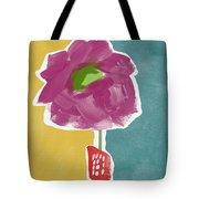 Big Purple Flower In A Small Vase- Art By Linda Woods Tote Bag