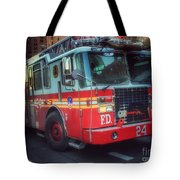Big Red Engine 24 - Fdny - Firefighters Of New York Tote Bag