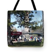 Big Red Wagon In Riverfront Park Tote Bag